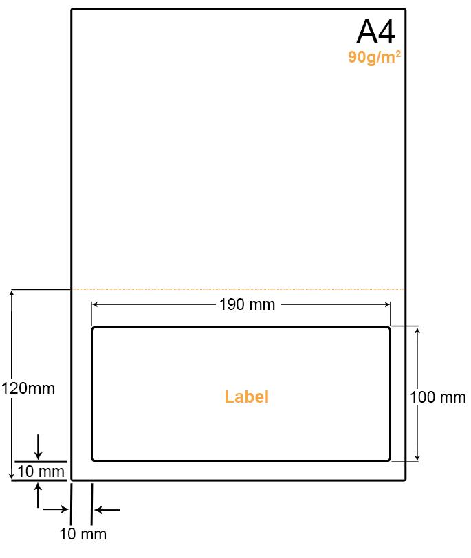 A4 Papier met een grote label en een perforatielijn