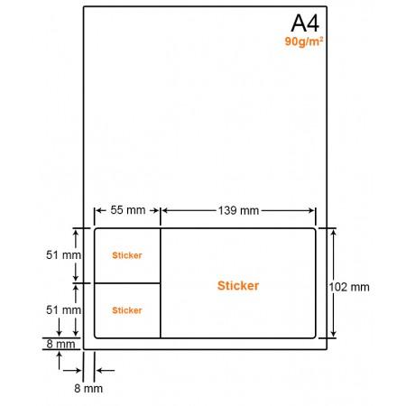 A4 Papier met 3 labels - WW4903A